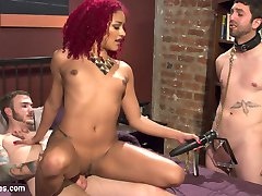 Daisy Ducati has a husband at home but his dick won't do. He's fine to pay the bills but she needs some thick, hard bull cock to satisfy her sexual appetite and her husband should just accept that. He spies on the her with the stud she brings home from the bar and even strokes his tiny little prick but Daisy catches him and makes him join in on the fun. Jay licks her feet, sucks studs cock and sucks on Daisy clit while she gets fuck with studs huge dick. All the sex juice drips into his mouth and she jerks her stud off into her husbands face!!!!