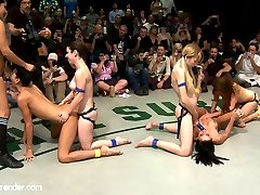 Welcome to Tag Team Tuesdays. Totally non-scripted, all in front of a live audience, all broadcast live to members. Today's update is RD 4 of 4. This was October's live match now edited for your enjoyment!  Princess Donna jumps out of the audience, Isis Love straps it on and the two losers are now getting brutally fucked and fisted by 4 girls.  It's 4 on 2. A massive 6-girl orgy and the losers are getting destroyed sexually in front of a live crowd.   Both losers are made to deep throat as they are brutally fucked by the best! The losers get fisted, are made to squirt, and then feel the sting of humiliation that only Ultimate Surrender, with it's live audience, can deliver.  Gia DiMarco has so many fists in her little pussy she almost forgets her name. Isis Love with her fist up to the wrist in Gia's pussy