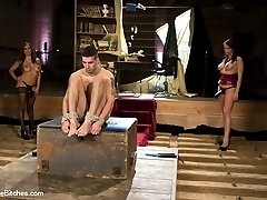 Mistress Francesca Le and Goddess Nicki Hunter join forces and devour 21 year old Tyler Alexander! He's strung up from his wrists, teased, tortured, poked, prodded, whipped, CBT'ed and humiliated. Tyler is strap-on ass banged by both sexy MILFs and also fisted like a dirty little ass slut while worshiping, licking and sniffing the mistresses asshole!! Last but surely not least his nice slave cock is used as a dildo and both these horny MILFs ride this buck like their is no tomorrow ripping every bit of cum from his ripe balls!
