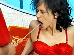 Nasty whore gets brutally fisted and pissed in the face