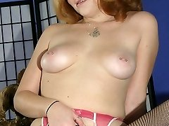 Plump cutie Cherry Poppens show off her big fat tits and spreads her thighs to play with her thick bush