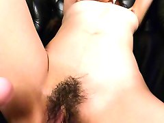 Erena Aihara with cloth in mouth is fucked with dildo till cums