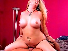 Slutty blonde Joclyn Stone shows off her natural hairy pussy and rides a cock like a horny cowgirl