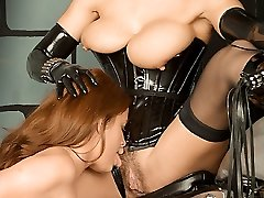 spandex French maid polishes dominatrix boots