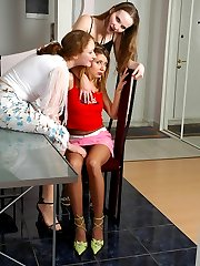 Cutie in handcuffs almost getting off from fierce pantyhose sex in lez 3sum