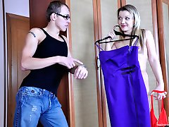 Pantyhose crazy couple gives up to their lust going for a raw nylon quickie
