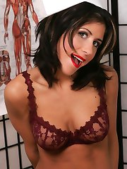 Nurse in stockings striptease