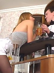 Hot barman ready to suck every babe�s finger right through her black tights