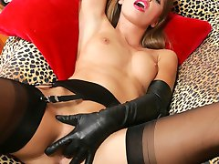 Gorgeous Ashley in leopard and black nylon