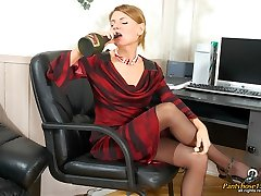 Lady-manager in black pantyhose seducing her secretary and having lesbian sex