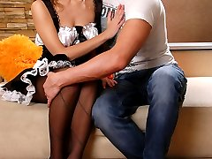 Mouth-watering French maid in black patterned tights gets juicy quickie sex