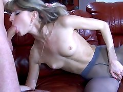 Nasty pantyhosed teaser crawls onto the sofa aching for that hard raw meat