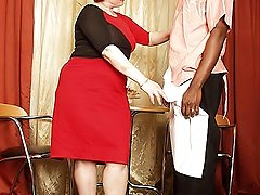 Round granny gets pumped hard by black stud