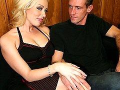Slutty blonde tattoed wife does the splits for Julians huge dick