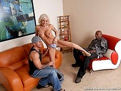 Buxom wife takes a jumbo white dick deep down her coochie