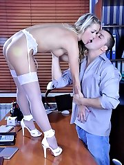 Adorable blonde in white stockings and high heels gets nailed in the office