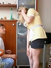 Salacious French maid in white stockings getting nailed right on the table