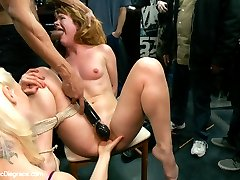 True submissive and anal whore, Claire Robbins, is pussy clamped, clothes pinned, flogged and fucked all over this haberdasher!! A group of very handsy men take Claire for a ride as she is doubly penetrated with dicks on sticks and touched all over by the nasty greedy grabbies of complete strangers. Claire's dick hungry mouth finds a cock it's never met before and it slides right down her throat. She proceeds to have her cattle prodder virginity taken and is pushed to the MAX by the beautiful and ruthless, Lorelei Lee. You can try this slut on, but you can't take her home! The true owner of her holes is Karlo who fills them up to his every delight.A SHOCKING ANAL POUNDING available at a retailer near you.