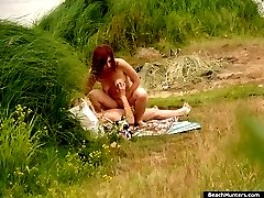 Naughty girl gets her pussy stuffed near the river