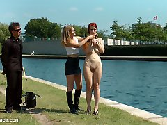 Gorgeous Ginger Isabella Lui is a filthy river rat and Mona Wales is here to make sure that animal gets the fucking and humiliation a dirty pest deserves! Isabella is stripped naked down to a furry butt plug and made to crawl down the river in front of hundreds floating by. This boring slut wasn't able to satisfy on land, so Mona throws her on a crowded drunken party boat! The boat demands entertainment and Mona delivers. Isabella takes a hard corporal in rope bondage, a deep pussy fucking by some huge dicks and a hard pounding in the ass. This ginger lesbian then gets fisted by Mona before taking huge loads in the face. Finally this filthy whore gets a cold ice bath dumped on her sorry humiliated face.