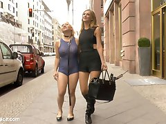 Mona Wales dislikes nothing more than dirty streets and clean submissives. This morning Mona decides to take matters into her own hands and take her beautiful blonde cum whore out to clean the streets of Berlin. The site of the humiliated Celina Davis crawling along the sidewalk is a welcome distraction to the morning commuters. Men in suits stop and admire Celina's exposed milky ass, pink pussy and spread asshole. As Mona's human street sweeper crawls to get all the trash, her heavy tits brush against the filthy sidewalk. Once Mona is satisfied that she has done her public service for the day, she takes Celina's whore holes to be fill at a local bar. Once in the bar Mona opens her slut up to be used. With an ashtray in her mouth Celina's pussy is packed of cock with a double vaginal penetration.  After Celina's holes have been completely used up the bar patrons toss their cigaret buts, ash and cum all over her face and perky tits. Thank you Mona for doing your part to make Berlin a cleaner and happier place.