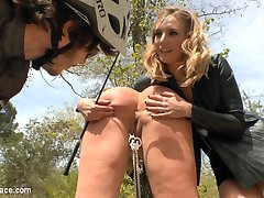 Mona Wales is back on Public Disgrace to make sure Busty Model Klara Gold gets everything that is coming to her. Klara is humiliated in a public courtyard then taken to a crowded park for hard fucking. Mona even pisses on her! Later at a crowded cafe, everyone gets a piece of this slutty whore.