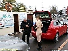 Janina naked on shopping tour