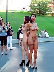 Two gorgeous models are tied up and publicly humiliated on the streets of Madrid in full display for everyone to see. Later that night they are made to serve a packed club. Every slave pussy gets fucked that night.