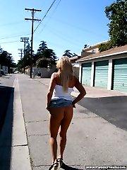 Very hot blond teen exposing herself in public