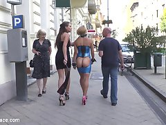 It's Nikki Thorn's turn to be publicly embarrassed, walking through the streets with her ass on display lead by Tina Kay and Ram to a nearby bar where the two meet Steve Holmes.  Nikki Thorn begs for all of her holes to be fucked and takes them all deep and hard. Nearby patrons smack Nikki's ass beet red as she gets ass fucked, face-fucked, and double penetrated until she's ultimately covered in filth.