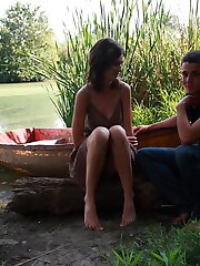 On the edge of the lake, these teen lovers take each other the edge of sexual pleasure. He brings her to an orgasm, the he explodes all over her perky teen tits.