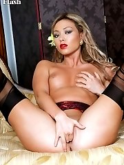 Natalia's sexy and silky dress over her sheer nylons turns her on!