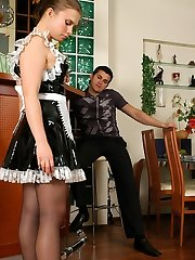 Salacious French maid treating her host with open pussy in black pantyhose