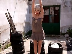 Stella Del Croix is a beautiful French girl who submits to Sandra Romain on location in Budapest.  This sexy girl gets her first taste of submission while tied up in a run down area of a public park.  Then, in an abandoned unfinished building,  Stella is bound and used as Sandra's fuck slave.  Ass licking, pussy licking and anal sex included!