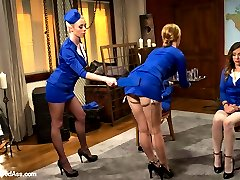 Three ladies compete to earn their stewardess hats to fly the friendly skies but one sadistic evil lesbian stewardess has unconventional ways of training the girls to prepare them for ANYTHING that could happen at 30,000 feet! Welcome back Kristina Rose, Mallory Mallone and Missy Minks to Whipped Ass as they are spanked, paddled, nipple clamped, strap-on ass fucked, made to lick pussy, dildo gag, humiliated and punished by the sexiest flight attendant anyone's ever seen!