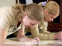 Two blonde babes bent over in pain - burning buttocks
