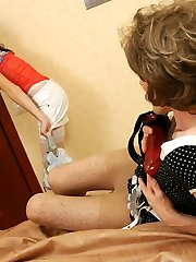 Well-dangled sissy dude trying out various hot positions in strap-on frenzy