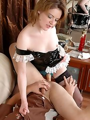 Salacious chick practicing steamy positions while wire-on fucking eager guy