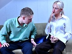 Kinky office babe whips out a rubber dong ready to fuck her male co-worker