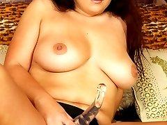 Sexy Senorita straps on and fucks man hole!