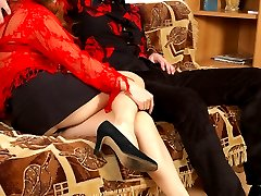Mischievous chick prefers a leading part in strap-on fucking with sissy guy