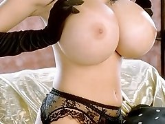 Slut in Tight Lingerie Teasing with Pair of Jugs