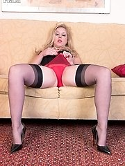 Aston strips to a vintage 'merry widow' with Cuban heeled 15 denier nylons and retro sheer panties!
