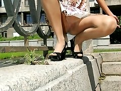 Horny pics from hot doll wearing only hose underneath dress
