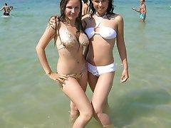 Sheer wet bikini uncovers nips and cameltoe