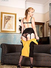 Give your selfup to Aston's erotic performance in classic sheer black 1960s French fully fashioned nylons!