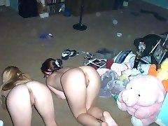 Horny lesbian teens get naked in a sex party