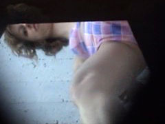Voyeur films girls pissing in dirty country toilet