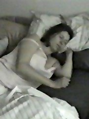 Sleeping lady gets voyeur spy act while being touched
