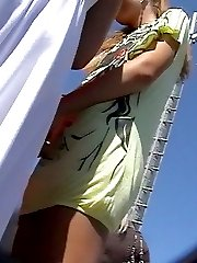 Gal's blue panty is nastily recorded for upskirt video